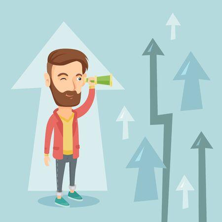 Man looking through spyglass on raising arrows. Illustration