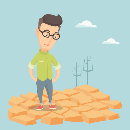 barrenness: Sad man in the desert vector illustration.