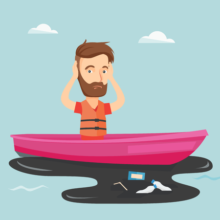 harmful to the environment: Sanitation worker floating in a boat and catching garbage out of water. Man clutching head while looking at polluted water. Water pollution concept. Vector flat design illustration. Square layout.