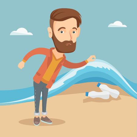 Man showing plastic bottles under sea wave. Çizim
