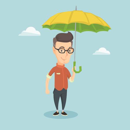 Geschäftsmann Versicherungsagenten mit Regenschirm. Standard-Bild - 71189514