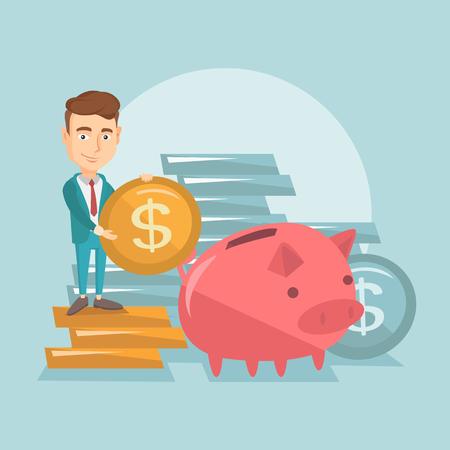 ビジネスの男性は、貯金箱にコインを入れてします。 写真素材 - 71098571