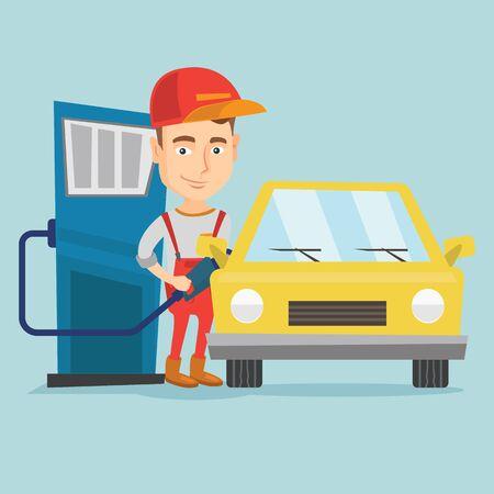 ガソリン スタンドで車に燃料を充填ワーカー