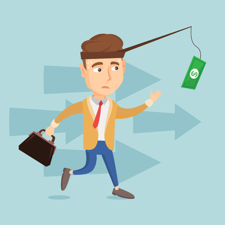 Business man trying to catch money on fishing rod Иллюстрация