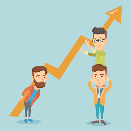 Three business men holding growth graph.