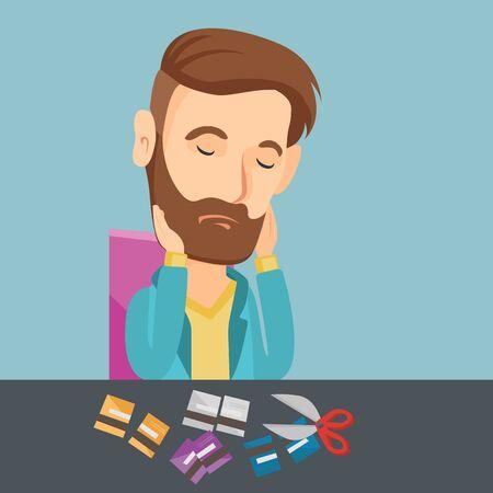 ビジネスの男性は、彼のクレジット カードを切断破産します。