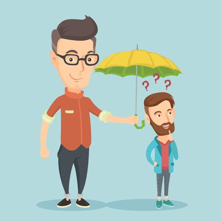 Businessman holding umbrella over man.