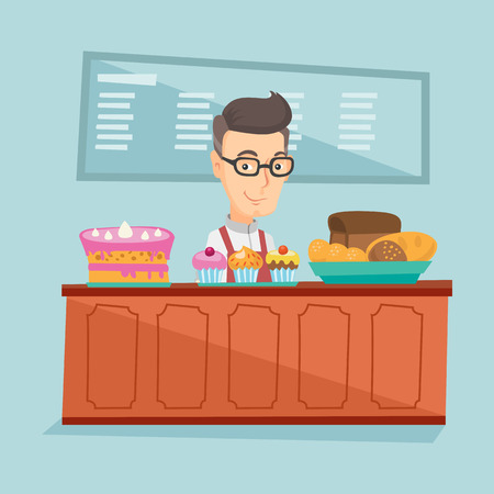 Worker standing behind the counter at the bakery. Illustration
