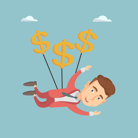 Business man flying with dollar signs. Illustration