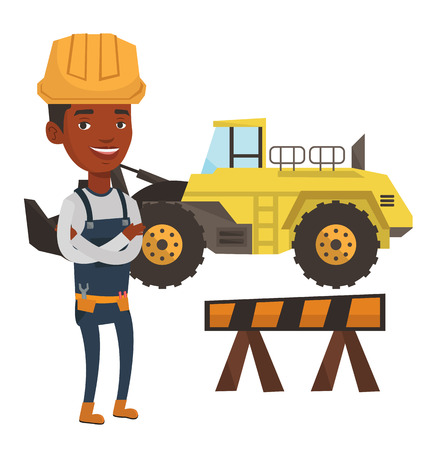 building site: African-american builder standing with arms crossed. Confident builder in hard hat. Young builder in overalls at work on construction site. Vector flat design illustration isolated on white background
