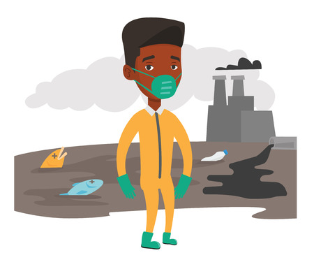 nuclear vector: An african-american man in gas mask and radiation protective suit standing on the background of nuclear power plant. Vector flat design illustration isolated on white background.