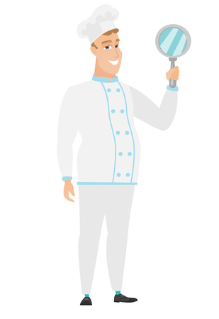 look in mirror: Caucasian chef cook holding hand mirror. Full length of chef cook looking at himself in a hand mirror. Smiling chef cook with hand mirror. Vector flat design illustration isolated on white background. Illustration