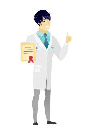 qualification: Asian doctor holding a certificate. Full length of doctor with certificate. Doctor in medical gown showing certificate and thumbs up. Vector flat design illustration isolated on white background.