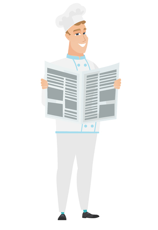 Caucasian chef cook reading newspaper. Young happy chef cook standing with newspaper in hands. Chef cook reading good news in newspaper. Vector flat design illustration isolated on white background. Illustration