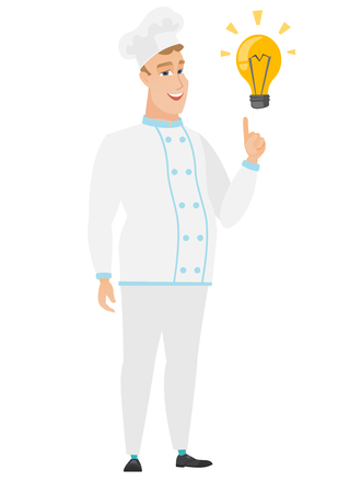 came: Caucasian chef cook pointing at bright idea light bulb. Full length of chef cook having idea. Chef cook came up with an idea for a recipe. Vector flat design illustration isolated on white background.