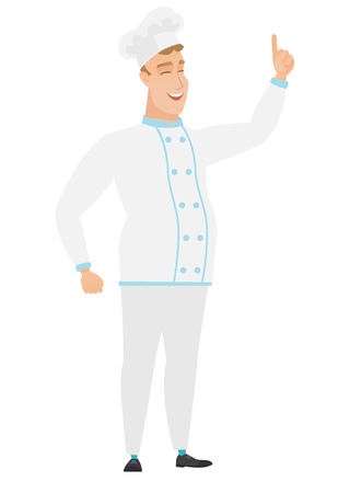 Excited chef cook in uniform pointing with his finger. Full length of chef cook pointing his finger up. Chef cook with finger pointing up. Vector flat design illustration isolated on white background. Illustration