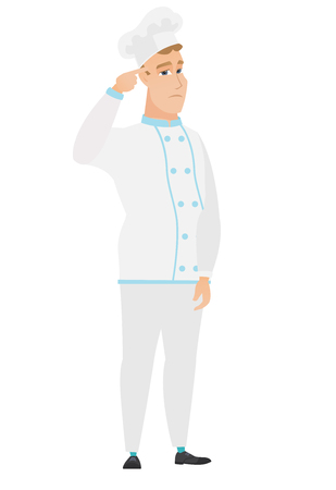 Angry caucasian chef cook gesturing with his finger against his temple. Full length of chef cook twisting his finger against temple. Vector flat design illustration isolated on white background.