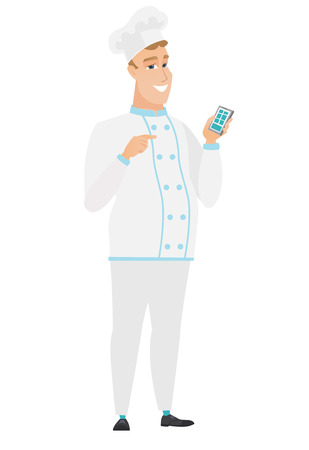 Caucasian chef cook holding mobile phone and pointing at it. Full length of chef cook with mobile phone. Chef cook using mobile phone. Vector flat design illustration isolated on white background.