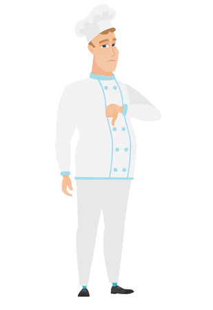 Disappointed caucasian chef cook with thumb down. Full length of sad chef cook showing thumb down. Young chef cook with his thumb down. Vector flat design illustration isolated on white background. Illustration