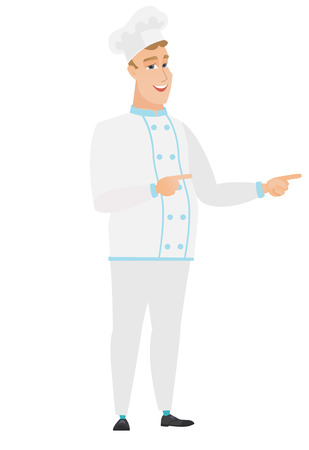 indicating: Caucasian chef cook indicating with two fingers to the side. Full length of cheerful chef cook pointing with two fingers to the side. Vector flat design illustration isolated on white background.