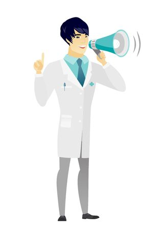 Young asian doctor with a megaphone making an announcement. Doctor making an announcement through a megaphone and pointing finger up. Vector flat design illustration isolated on white background. Illustration