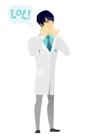 laugh out loud: Young doctor in medical gown laughing out loud. Doctor and speech bubble with text - lol. Doctor laughing out loud and covering his mouth. Vector flat design illustration isolated on white background.