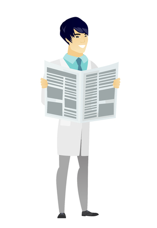 news reader: Asian doctor in medical gown reading newspaper. Happy doctor standing with newspaper in hands. Doctor reading good news in newspaper. Vector flat design illustration isolated on white background. Illustration