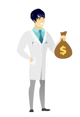 Asian doctor showing money bag with dollar sign. Full length of young doctor with money bag. Doctor in medical gown holding money bag. Vector flat design illustration isolated on white background.