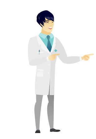 Asian doctor indicating with two fingers to the side. Full length of cheerful doctor in medical gown pointing with tow fingers to the side. Vector flat design illustration isolated on white background