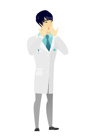 Shoked asian doctor in medical gown covering his mouth with hand. Full length of shoked doctor. Doctor with a shocked facial expression. Vector flat design illustration isolated on white background. Illustration
