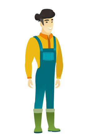 Young asian confident farmer in coveralls. Full length of smiling confident farmer. Farmer standing in a pose signifying confidence. Vector flat design illustration isolated on white background.