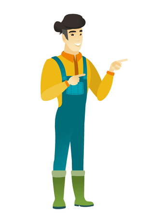 Young asian farmer in coveralls pointing to the side. Farmer pointing his finger to the side. Happy farmer pointing to the right side. Vector flat design illustration isolated on white background. Illustration