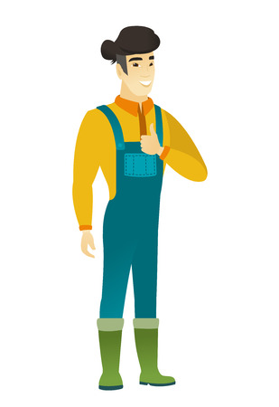 asian farmer: Young happy asian farmer in coveralls giving thumb up. Full length of smiling farmer with thumb up. Cheerful farmer showing thumb up. Vector flat design illustration isolated on white background.