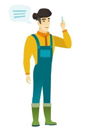 asian farmer: Asian farmer with speech bubble. Farmer in coveralls giving a speech on conference. Farmer with speech bubble coming out of his head. Vector flat design illustration isolated on white background.