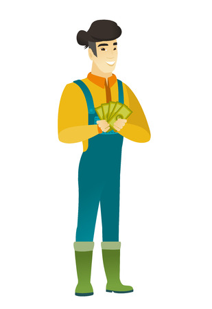 overalls: Happy asian farmer in coveralls holding money. Excited farmer standing with money in hands. Full length of smiling farmer with money. Vector flat design illustration isolated on white background.