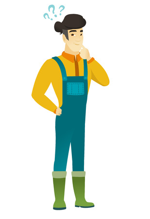 Thinking farmer with question marks. Thoughtful farmer with question marks. Farmer in coveralls looking at question marks above his head. Vector flat design illustration isolated on white background.