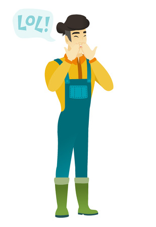 laugh out loud: Young farmer in coveralls laughing out loud. Farmer and speech bubble with text - lol. Farmer laughing out loud and covering his mouth. Vector flat design illustration isolated on white background.