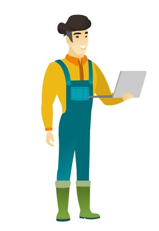 using laptop: Farmer using laptop vector illustration. Illustration