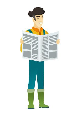 Farmer reading newspaper vector illustration Illustration