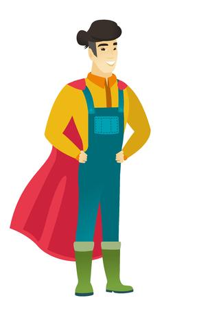 Farmer wearing a red superhero cloak.