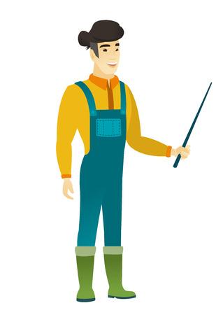 asian farmer: Asian farmer holding pointer stick.
