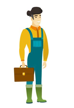 asian farmer: Asian farmer holding briefcase. Illustration