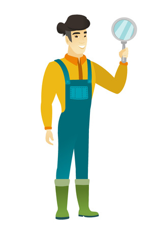 asian farmer: Asian farmer in coveralls holding a hand mirror. Full length of farmer looking at himself in a hand mirror. Farmer with hand mirror. Vector flat design illustration isolated on white background.
