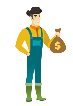 asian farmer: Asian farmer showing money bag with dollar sign. Full length of young farmer with money bag. Farmer in coveralls holding a money bag. Vector flat design illustration isolated on white background.