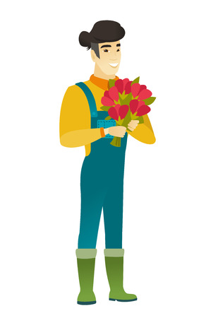Asian farmer in coveralls holding a bouquet of flowers. Full length of cheerful farmer with bouquet of flowers. Happy farmer with flowers. Vector flat design illustration isolated on white background. Illustration