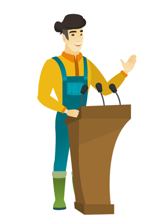 Asian farmer speaking to audience from tribune. Farmer giving speech from tribune. Farmer standings behind the tribune with microphones. Vector flat design illustration isolated on white background.