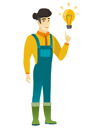 came: Asian farmer pointing at bright idea light bulb. Full length of young farmer having a creative idea. Farmer came up with a great idea. Vector flat design illustration isolated on white background.