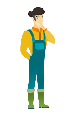 thoughtful: Young asian farmer in coveralls thinking. Full length of thinking farmer with hand on his chin. Farmer thinking and looking to the side. Vector flat design illustration isolated on white background.