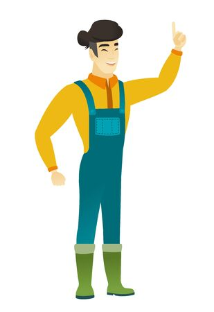 asian farmer: Excited farmer in coveralls pointing with his finger. Full length of asian farmer pointing his finger up. Farmer with finger pointing up. Vector flat design illustration isolated on white background. Illustration