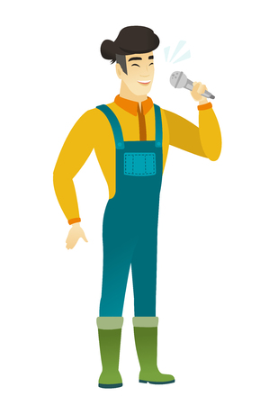 asian farmer: Asian farmer in coveralls singing to the microphone. Full length of farmer singing with closed eyes. Happy farmer singing to the mic. Vector flat design illustration isolated on white background.